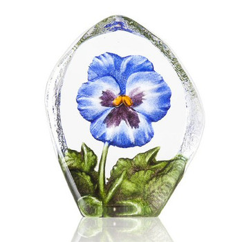 Blue Pansy Flower Etched Painted Crystal Sculpture by Mats Jonasson