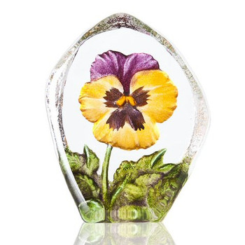 Yellow & Purple Pansy Flower Etched Crystal Sculpture by Mats Jonasson