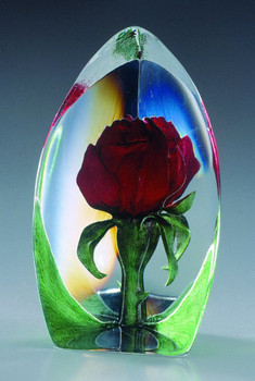 Rose Red Flower Etched Crystal Sculpture by Mats Jonasson