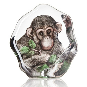 Chimpanzee Clear Etched Painted Crystal Sculpture by Mats Jonasson