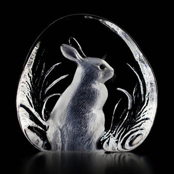 Sitting Bunny Rabbit Etched Crystal Sculpture by Mats Jonasson