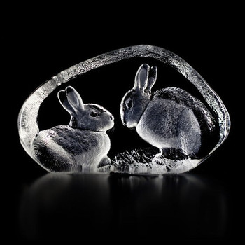 Two Rabbits Etched Crystal Sculpture by Mats Jonasson