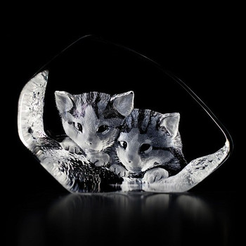 Two Cats Relaxing Etched Crystal Sculpture by Mats Jonasson