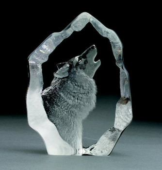 Howling Wolf Etched Crystal Sculpture by Mats Jonasson