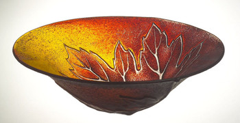 Large Maple Leaf Red Crystal Bowl by Mats Jonasson