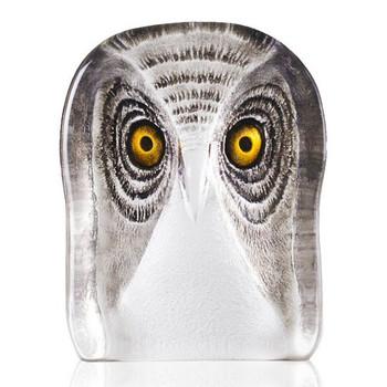 Medium Owl Bird w/ Brown Color Etch Crystal Sculpture by Mats Jonasson