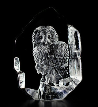 Tawny Owl Etched Crystal Sculpture by Mats Jonasson