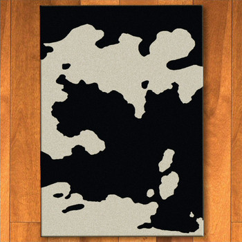 3' x 4' Black Cowhide Western Rectangle Scatter Rug