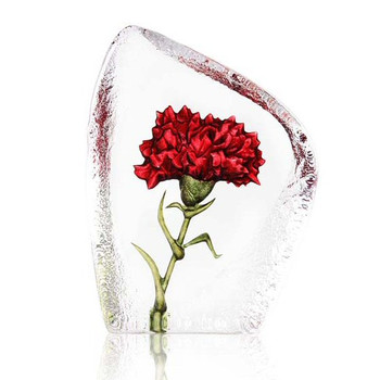 Carnation Flower Red Color Etched Crystal Sculpture by Mats Jonasson