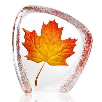 Red Maple Leaf Etched Painted Crystal Sculpture by Mats Jonasson