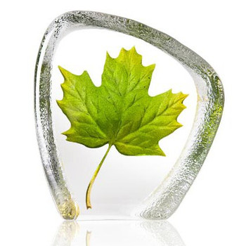 Green Maple Leaf Etched Painted Crystal Sculpture by Mats Jonasson