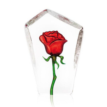 Rose Red Etched Crystal Sculpture by Mats Jonasson
