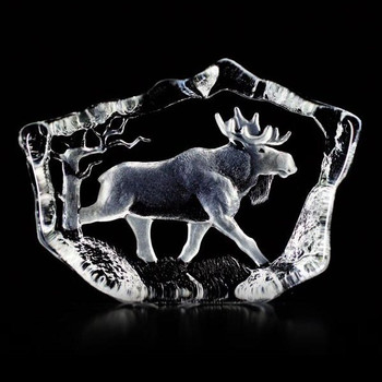 Walking Moose Etched Crystal Sculpture by Mats Jonasson
