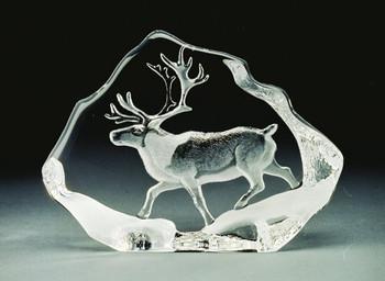 Walking Reindeer Etched Crystal Sculpture by Mats Jonasson