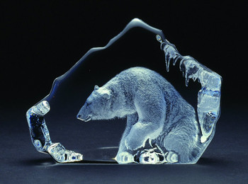 Huge Polar Bear Sitting Etched Crystal Sculpture by Mats Jonasson