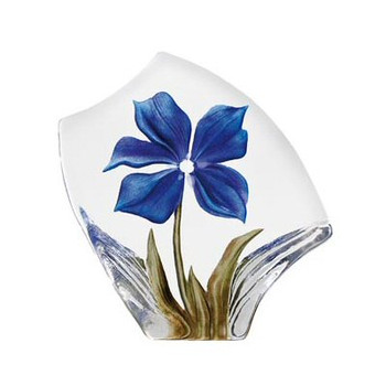 Blue Obia Flower Etched Crystal Sculpture by Mats Jonasson