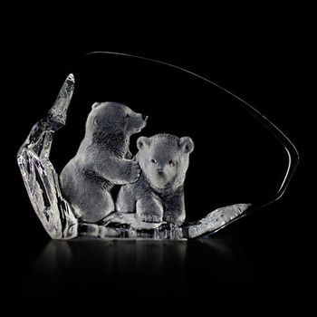 Two Polar Bear Cubs Etched Crystal Sculpture by Mats Jonasson