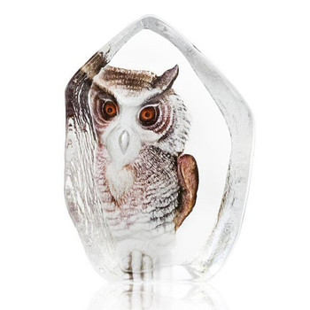 Owl With Color Etched Crystal Sculpture by Mats Jonasson