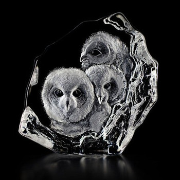 Owlets Etched Crystal Sculpture by Mats Jonasson