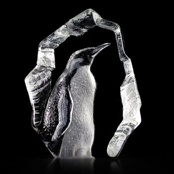 Penguin Etched Crystal Sculpture by Mats Jonasson