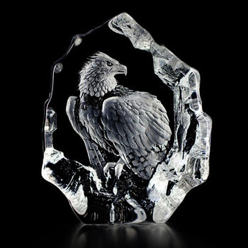 Eagle Etched Crystal Sculpture by Mats Jonasson