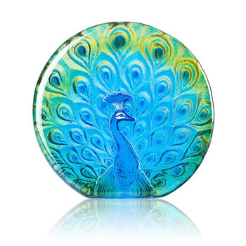 Peacock Bird Blue/Green Color Etch Crystal Sculpture by Mats Jonasson