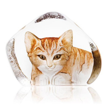Large Cat Brown Etched Crystal Sculpture by Mats Jonasson