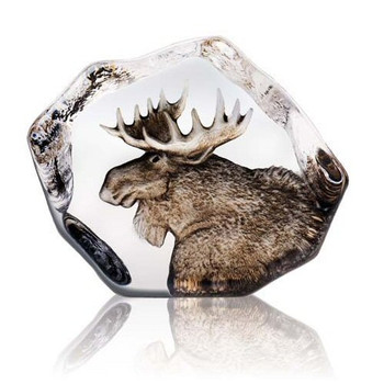 Moose Hand Etched Crystal Sculpture by Mats Jonasson