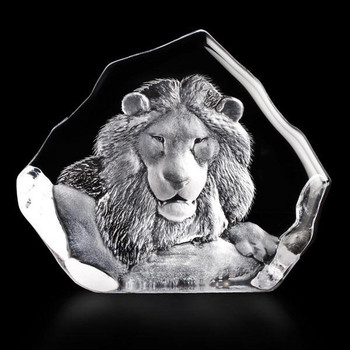 Lion Head Etched Crystal Sculpture by Mats Jonasson