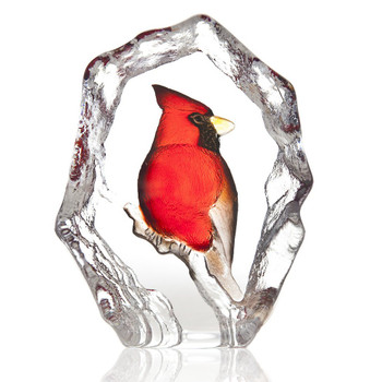 Red Cardinal Bird Painted Etched Crystal Sculpture by Mats Jonasson