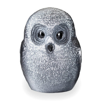 Small Black Owl Etched Crystal Sculpture by Mats Jonasson