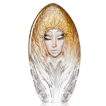 Dawn Gold Etched Crystal Masq Sculpture by Mats Jonasson