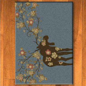 3' x 4' Abstract Moose Blossom Blue Wildlife Rectangle Scatter Rug