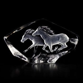 Two Horses Etched Crystal Sculpture by Mats Jonasson