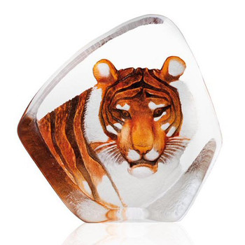 Tiger in Color Etched Crystal Sculpture by Mats Jonasson