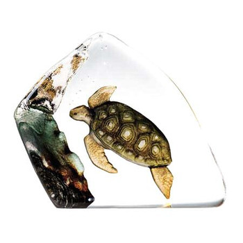 Colorful Sea Turtle Etched Crystal Sculpture by Mats Jonasson