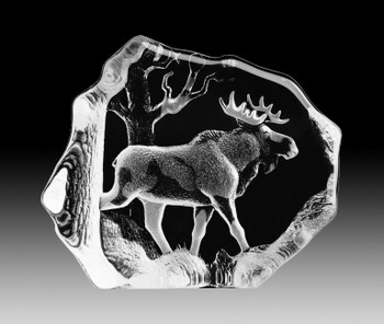 Single Bull Moose Etched Crystal Sculpture by Mats Jonasson