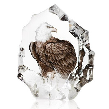 Bald Eagle in Color Etched Crystal Sculpture by Mats Jonasson