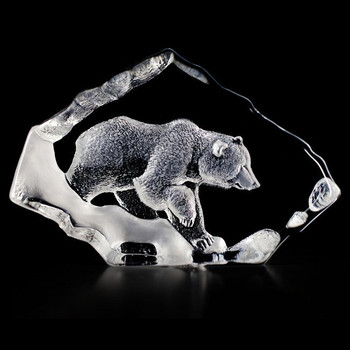 Grizzly Bear Etched Crystal Sculpture by Mats Jonasson