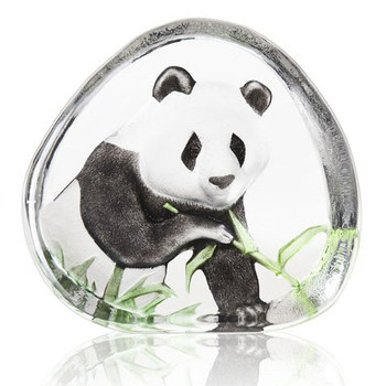 Panda Eating Clear Etched Painted Crystal Sculpture by Mats Jonasson