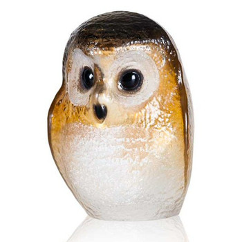 Brown and Yellow Owlet Bird Painted Crystal Sculpture by Mats Jonasson