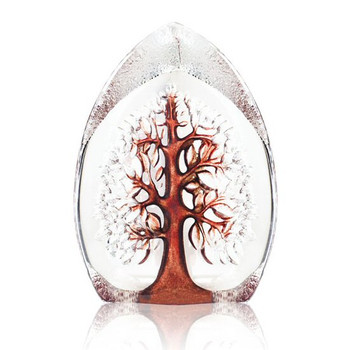 Red Yggdrasil Tree Etched Crystal Sculpture by Mats Jonasson