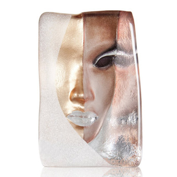 Mazzai Gold Beige and Brown Crystal Masq Sculpture by Mats Jonasson