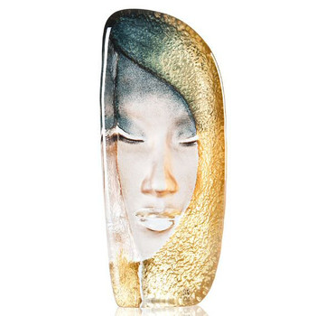 Mystiqua Gold Etched Crystal Masq Sculpture by Mats Jonasson