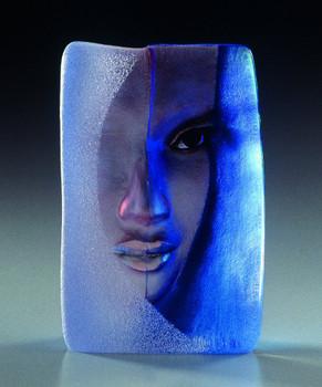 Mazzai Blue Etched Crystal Masq Sculpture by Mats Jonasson