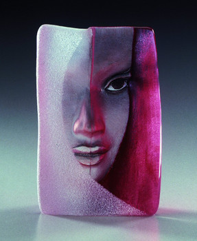Mazzai Red Etched Crystal Masq Sculpture by Mats Jonasson