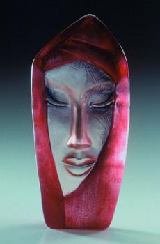 Batzeba Red Etched Crystal Masq Sculpture by Mats Jonasson