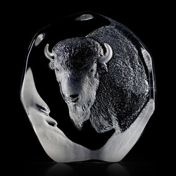 Buffalo Etched Crystal Sculpture by Mats Jonasson