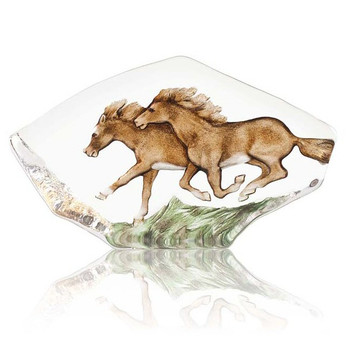 Running Horses w/ Brown Color Etch Crystal Sculpture by Mats Jonasson