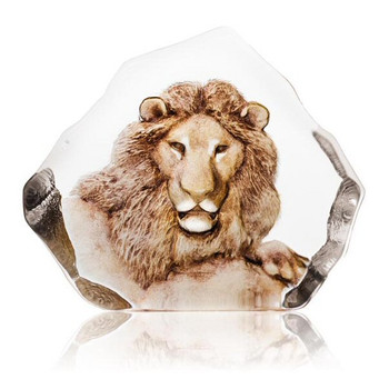Lion in Color Hand Etched Crystal Sculpture by Mats Jonasson